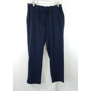 J JILL capri pants cropped paper bag waist blue SP